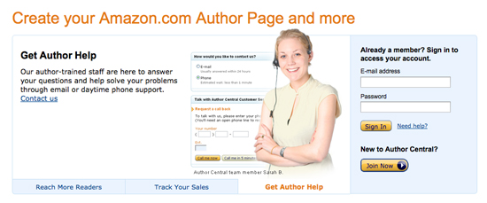 Author Central as a marketing tool