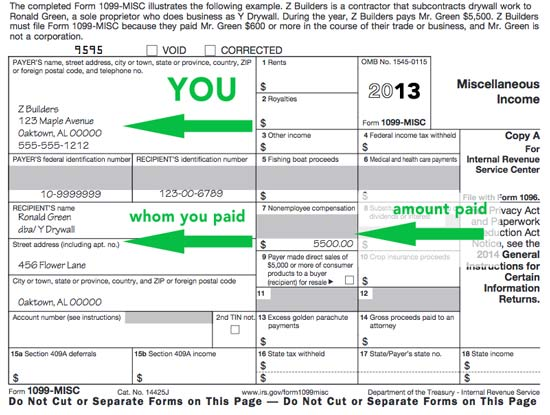 US 1099-MISC tax form
