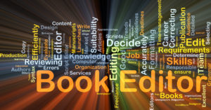 Background concept wordcloud illustration of book editor glowing light
