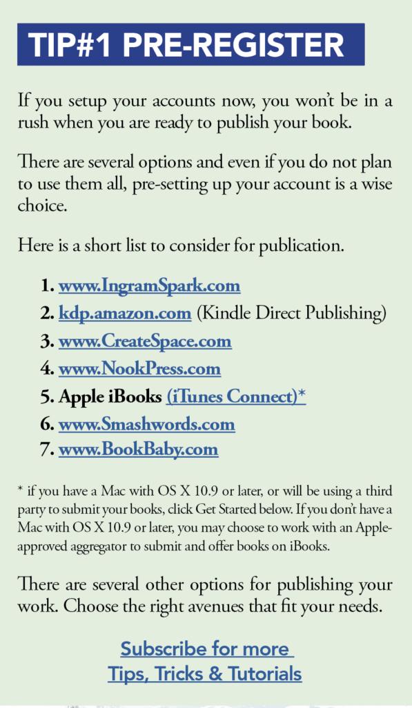 Self_Publishing Tip #1: Pre-Register